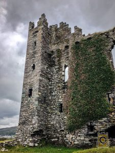 The current ruins of Ballycarbery Castle, located off the Ring of Kerry in County Kerry, Ireland.