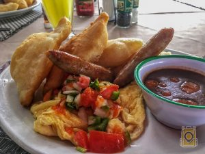 Breakfast from Tina's Kitchen in Hopkins, Belize.