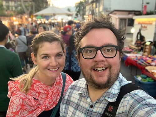childfree travel: John and Tiffany at the Saturday market in Chiang Mai