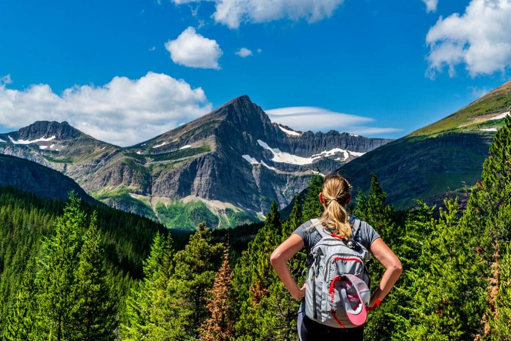 visiting glacier national park: an overlook during a hike